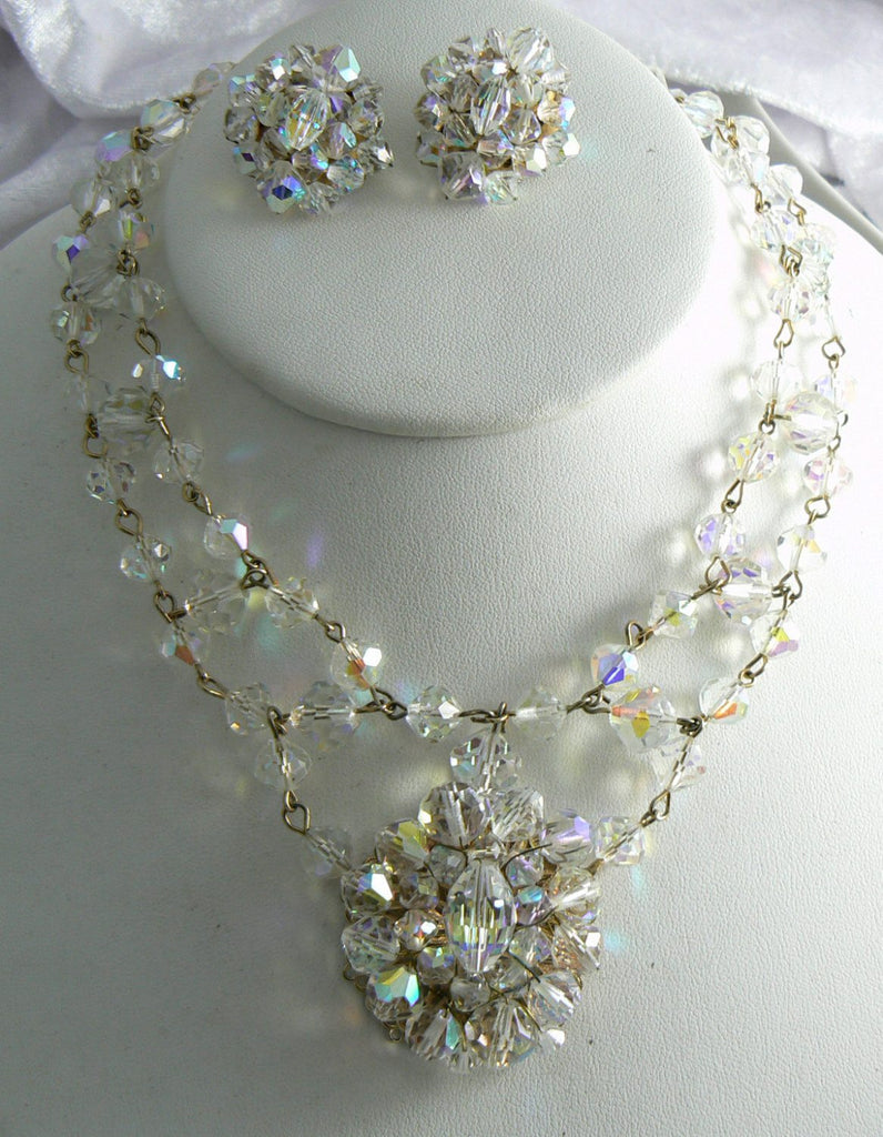Vintage Ab Crystal Necklace And Earrings - Vintage Lane Jewelry