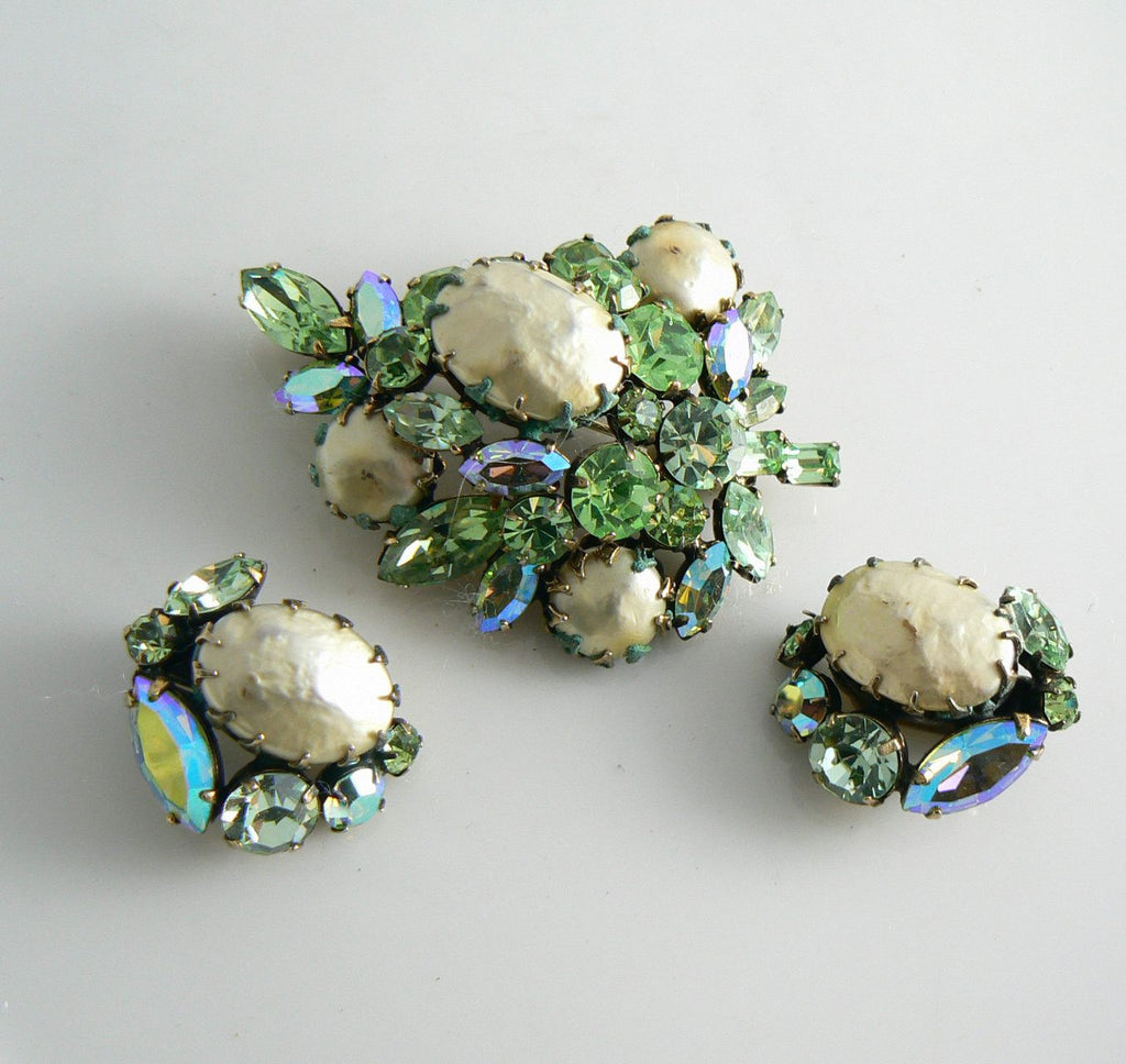 Vintage Regency Green Rhinestone And Baroque Pearl Demi Parure - Vintage Lane Jewelry