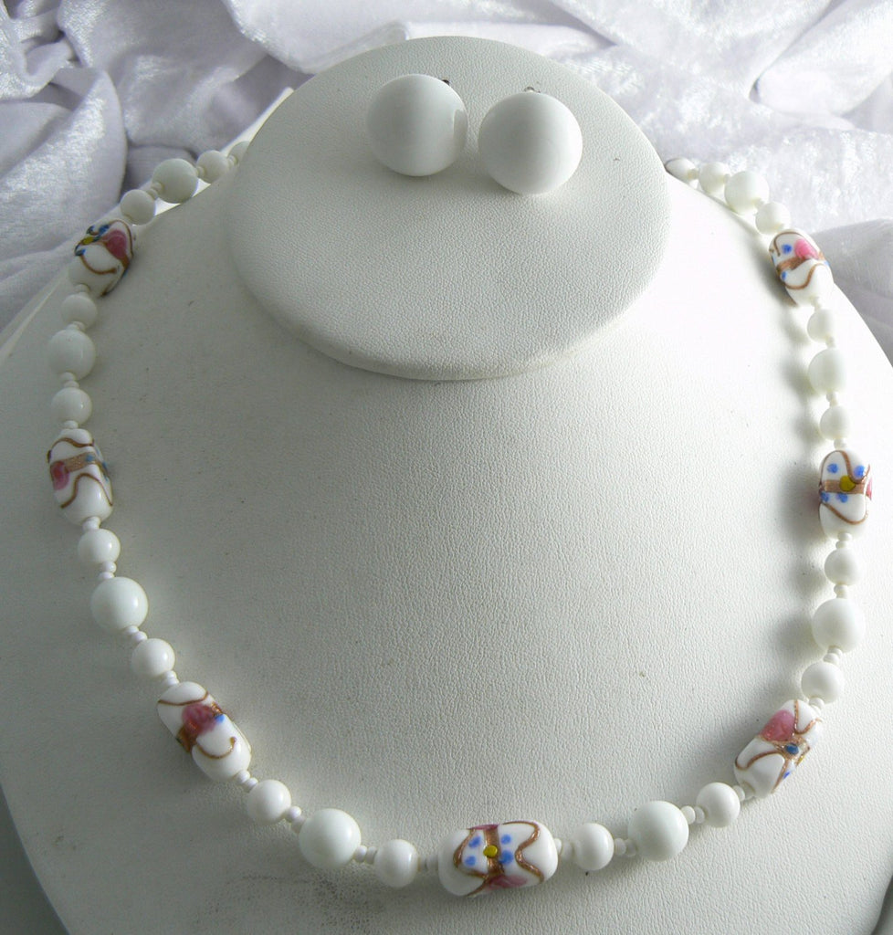 Miriam Haskell Milk Glass Wedding Cake Glass - Vintage Lane Jewelry