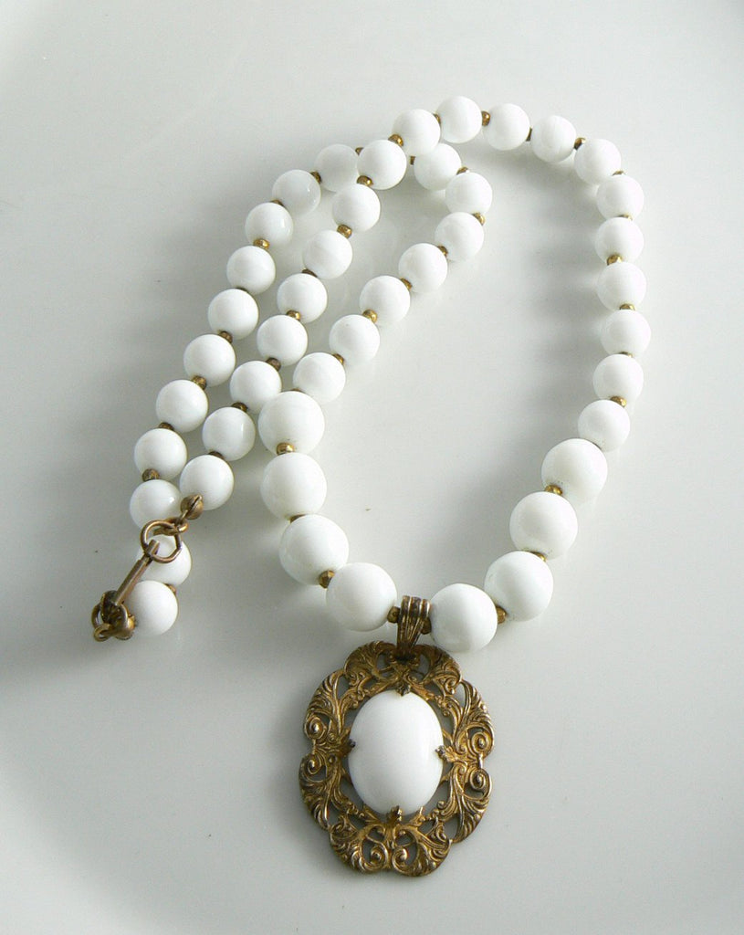 Miriam Haskell White Pendant Necklace - Vintage Lane Jewelry