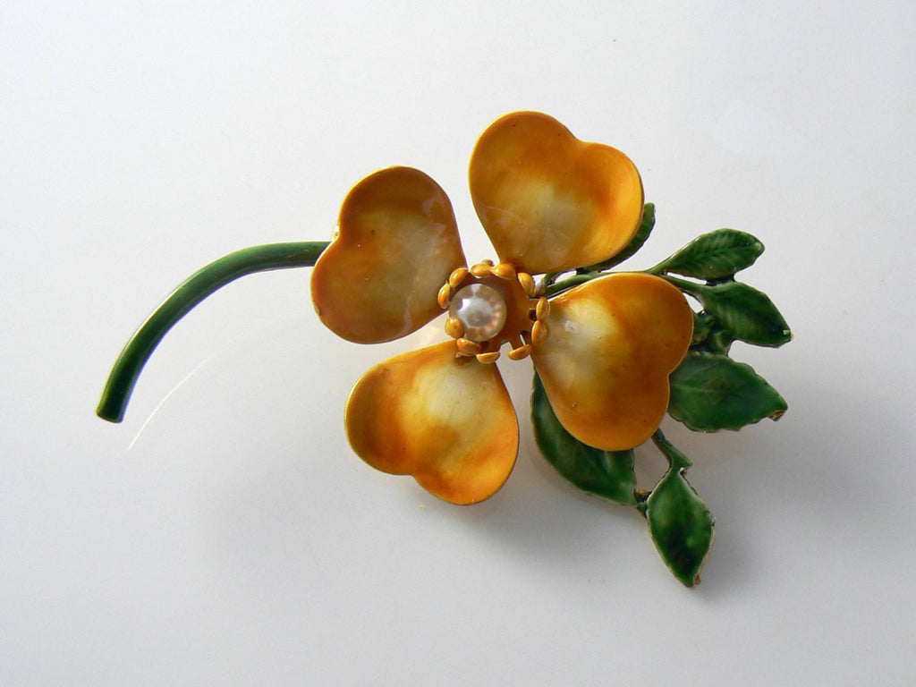 Original By Robert Butterscotch Enamel Dogwood Flower - Vintage Lane Jewelry