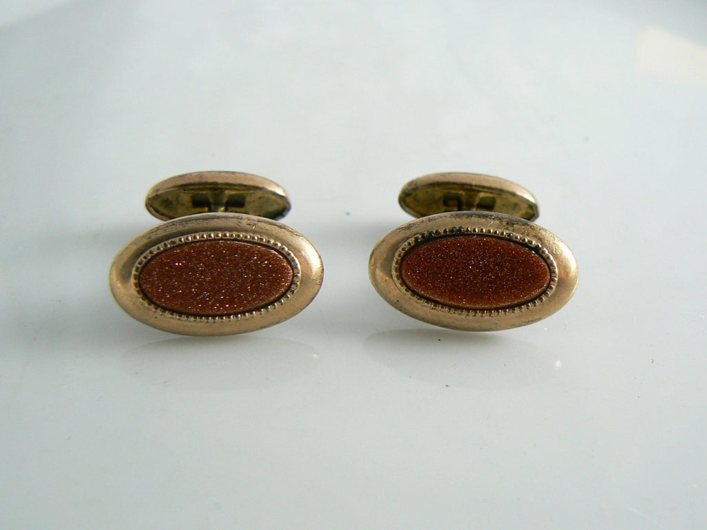 Victorian Goldstone Antique Cufflinks. - Vintage Lane Jewelry
