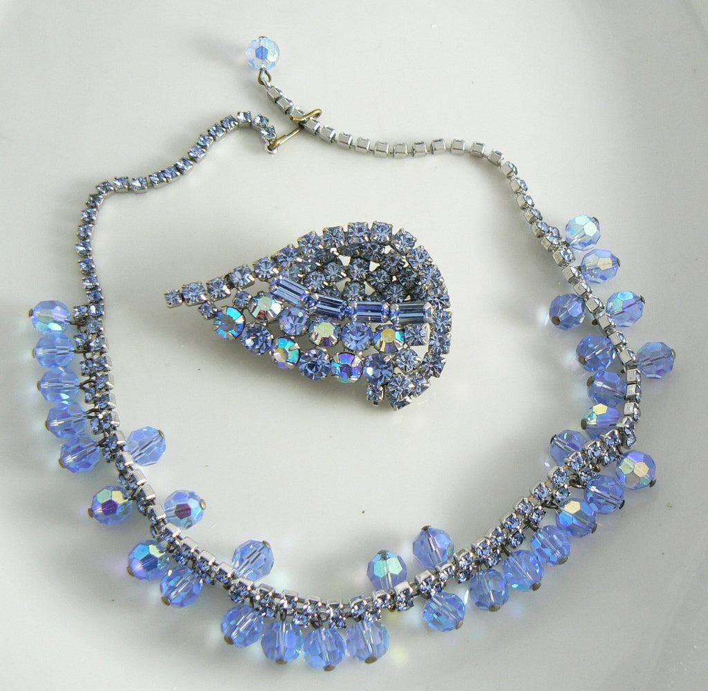 Beautiful Blue Rhinestone And Crystal Vintage Necklace Brooch Set - Vintage Lane Jewelry