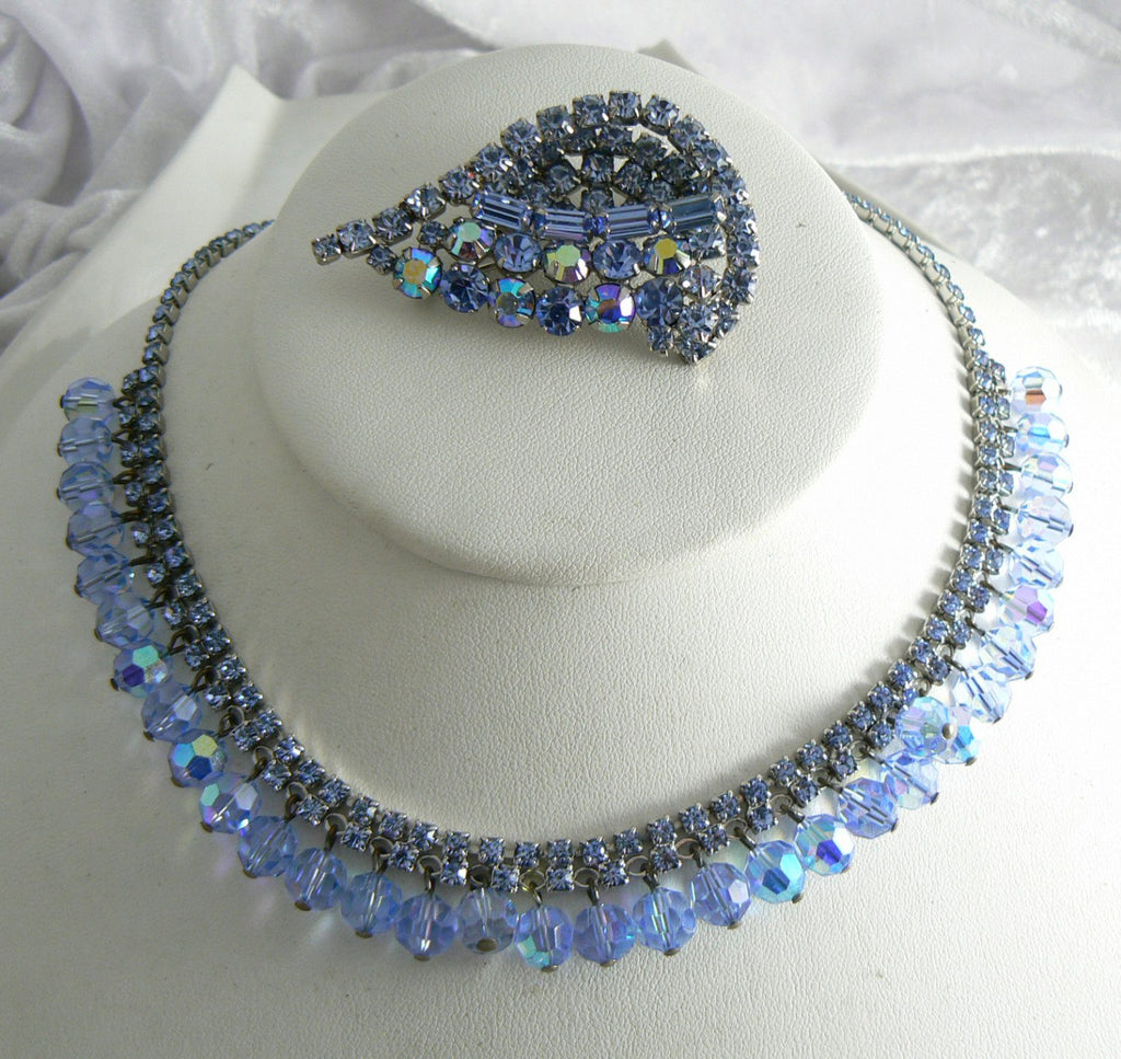 Beautiful Blue Rhinestone And Crystal Vintage Necklace Brooch Set - Vintage Lane Jewelry - 1