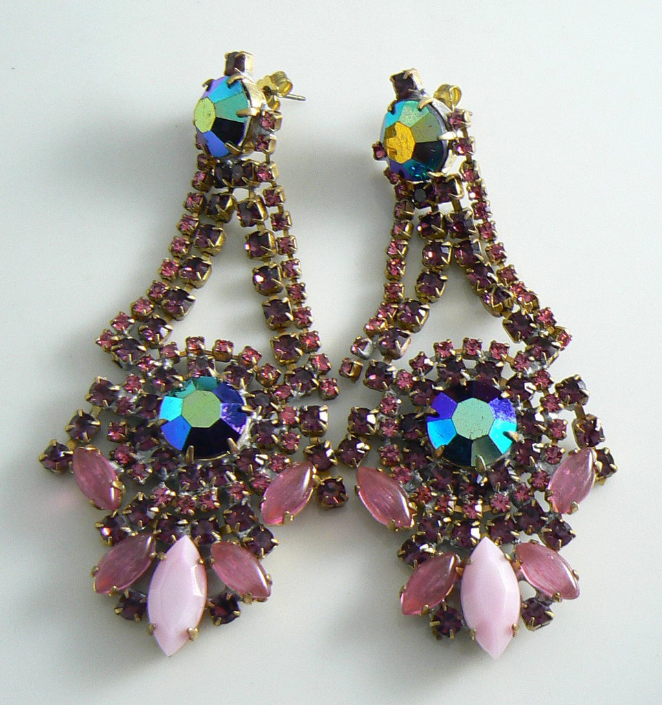 Czech Glass Bijoux Rhinestone Pink And Purple Pierced Style Earrings - Vintage Lane Jewelry