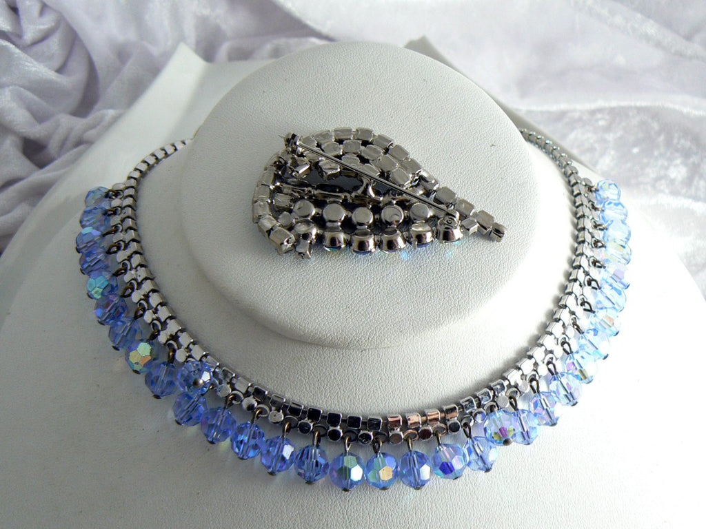 Beautiful Blue Rhinestone And Crystal Vintage Necklace Brooch Set - Vintage Lane Jewelry - 3