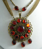 Romantic Blood Red Glass Cab Festooned Necklace - Vintage Lane Jewelry - 1
