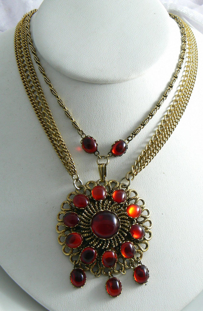 Romantic Blood Red Glass Cab Festooned Necklace - Vintage Lane Jewelry