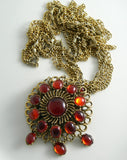 Romantic Blood Red Glass Cab Festooned Necklace - Vintage Lane Jewelry - 3