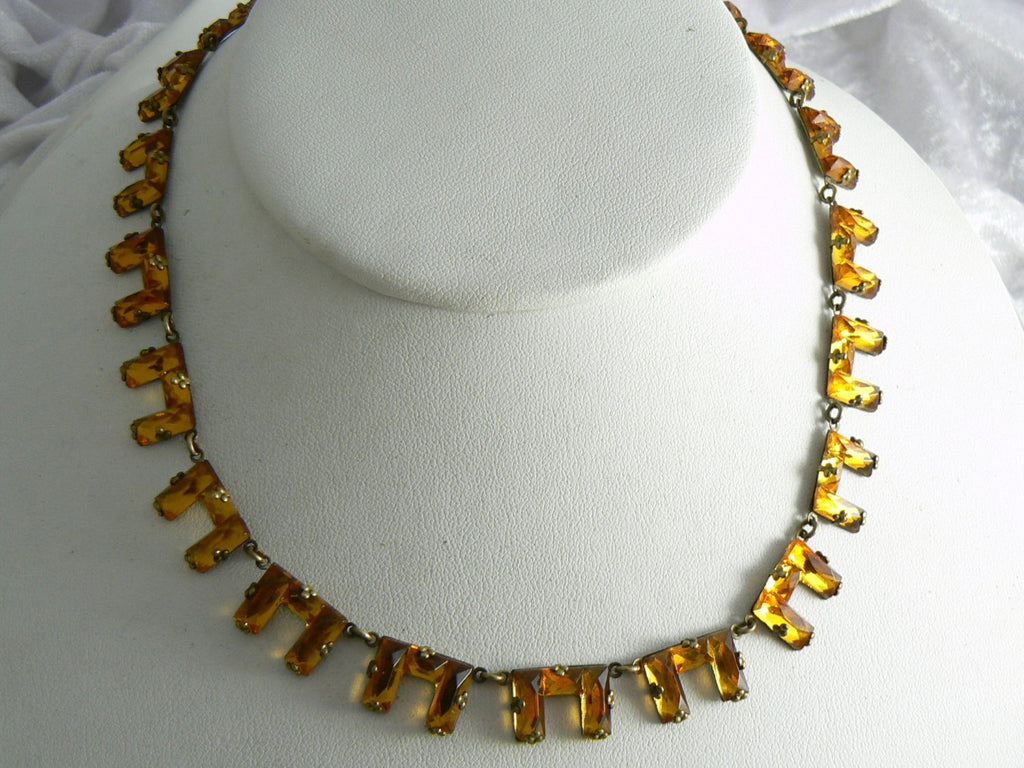 Vintage Art Deco Czech Amber Colored Step Glass Necklace - Vintage Lane Jewelry