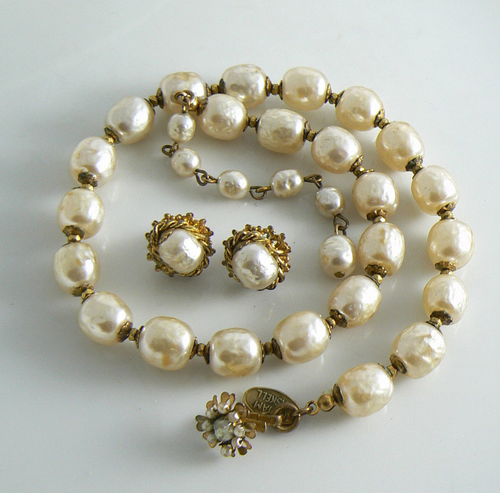 Classic Miriam Haskell Baroque Pearl Necklace Earring Set - Vintage Lane Jewelry