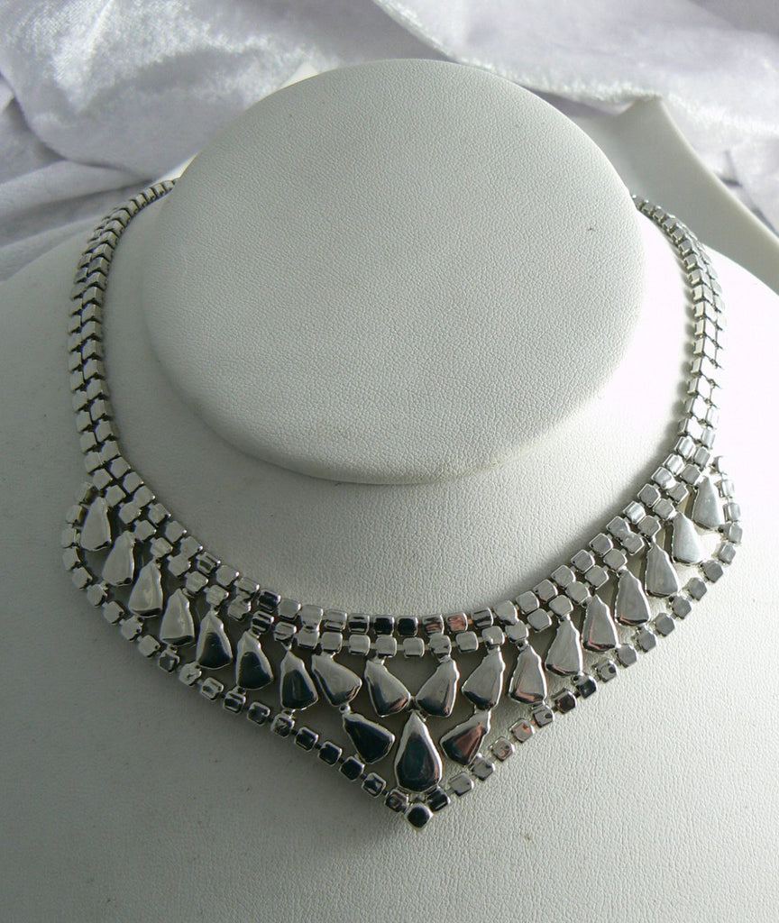 Vintage Signed Weiss Fiery Rhinestone Bib Collar Necklace - Vintage Lane Jewelry