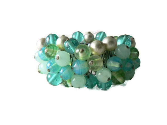 Vintage Expansion Cha Cha Bracelet Faux Pearls Art Glass Beads - Vintage Lane Jewelry