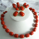 Marvella Red Lucite Necklace, Bracelet And Earring Set - Vintage Lane Jewelry