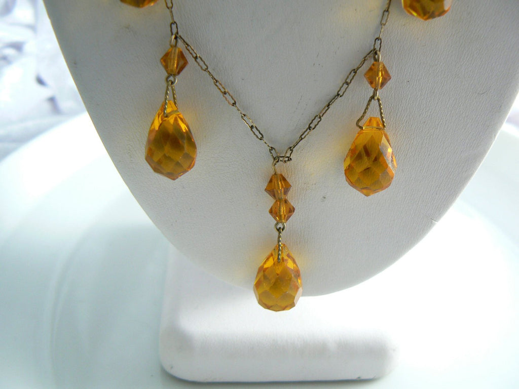 Art Deco Amber Glass Briolette Drop Necklace - Vintage Lane Jewelry
