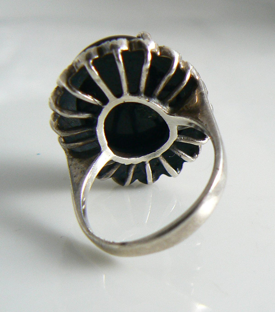 Vintage Art Deco Sterling Silver Onyx Marcasite Ring - Vintage Lane Jewelry - 3