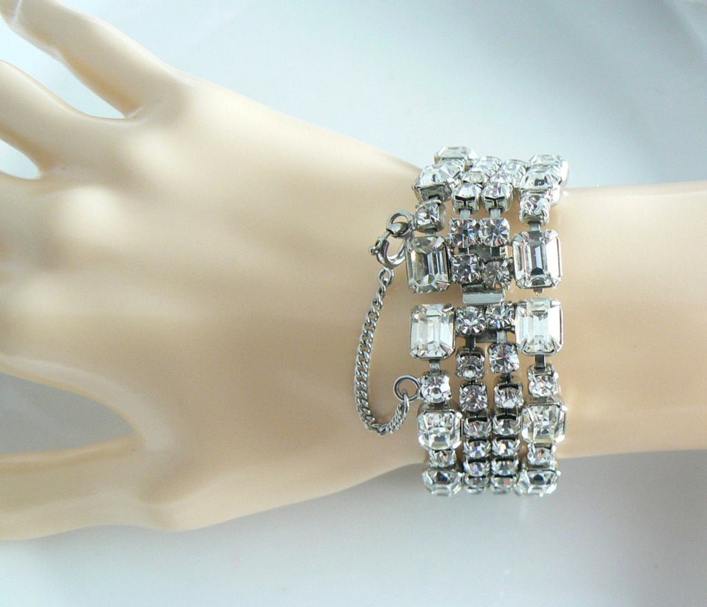 Weiss Wide Crystal Rhinestone Bracelet - Vintage Lane Jewelry