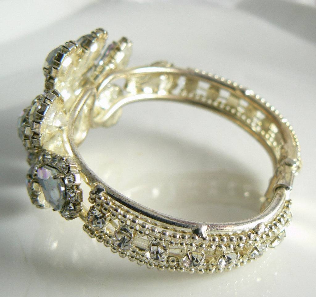 Beautiful Sparkling Ice And Borealis Rhinestone Clamper Bracelet - Vintage Lane Jewelry