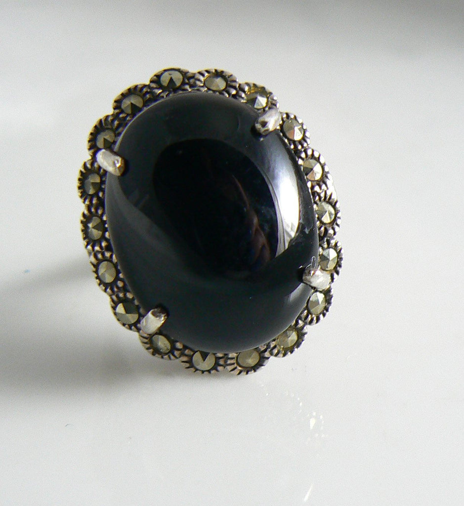 Vintage Art Deco Sterling Silver Onyx Marcasite Ring - Vintage Lane Jewelry - 1