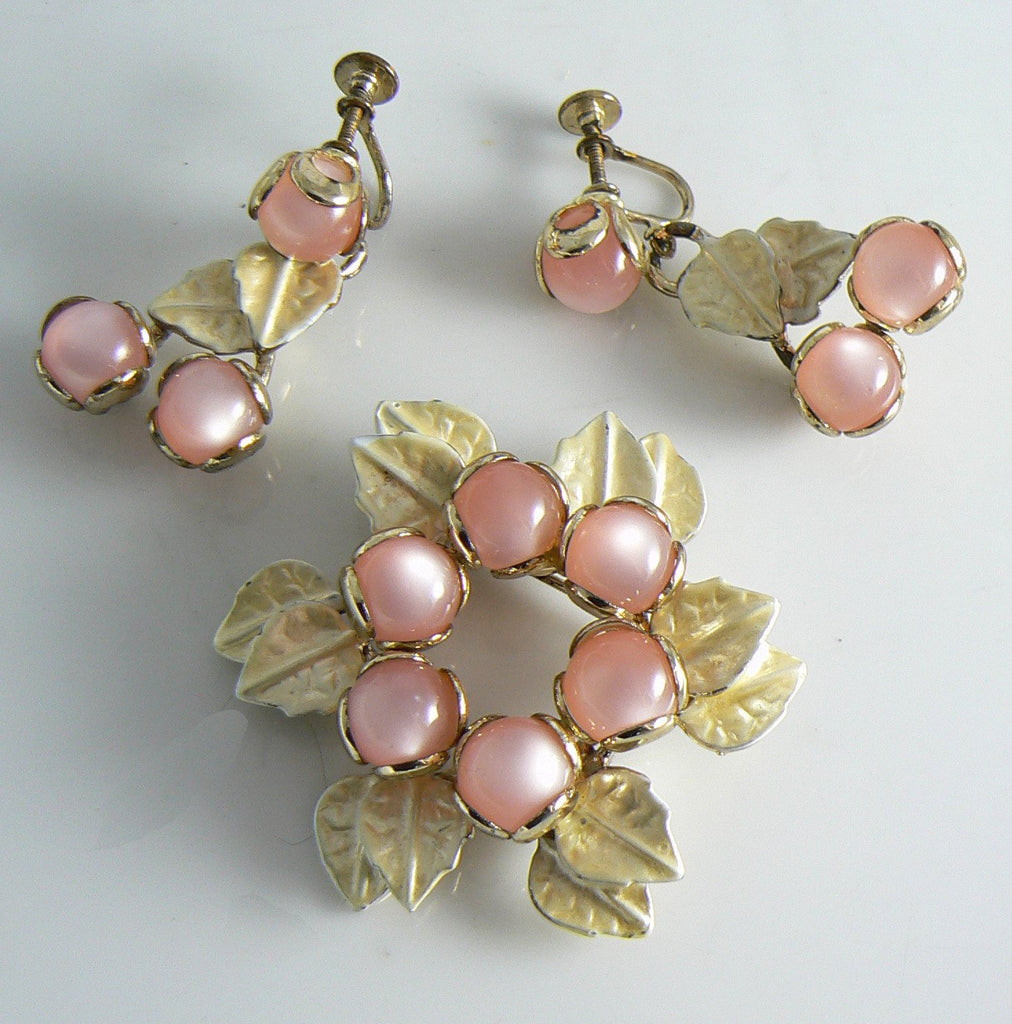 Vintage Pink Moonglow Lucite Enamel Brooch Dangle Earrings Set - Vintage Lane Jewelry