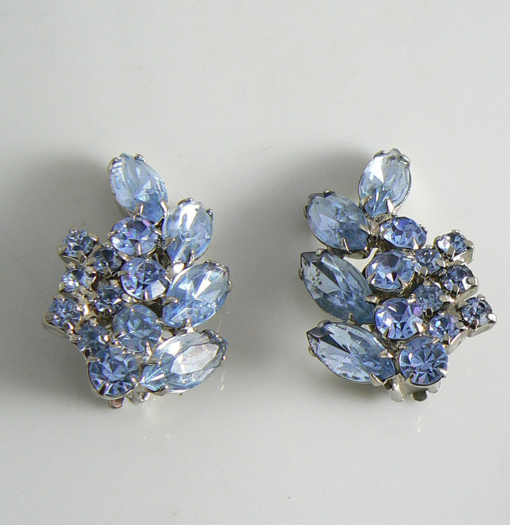 Vintage D&E Juliana Sparkling Blue Rhinestone Climber Earrings - Vintage Lane Jewelry