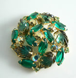 Juliana D & E Carved Givre Emerald Ab Glass Rhinestone Brooch - Vintage Lane Jewelry