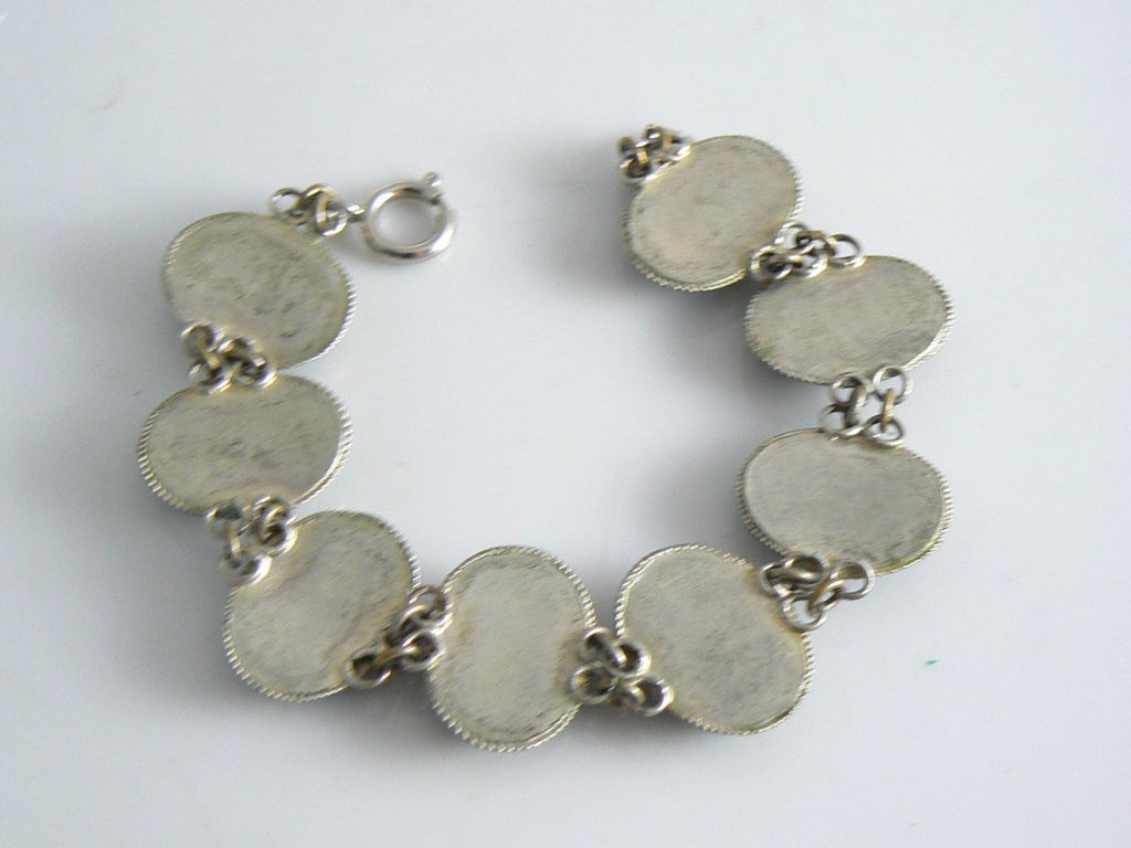Vintage Art Deco Enamel Bird/flower Bracelet - Vintage Lane Jewelry