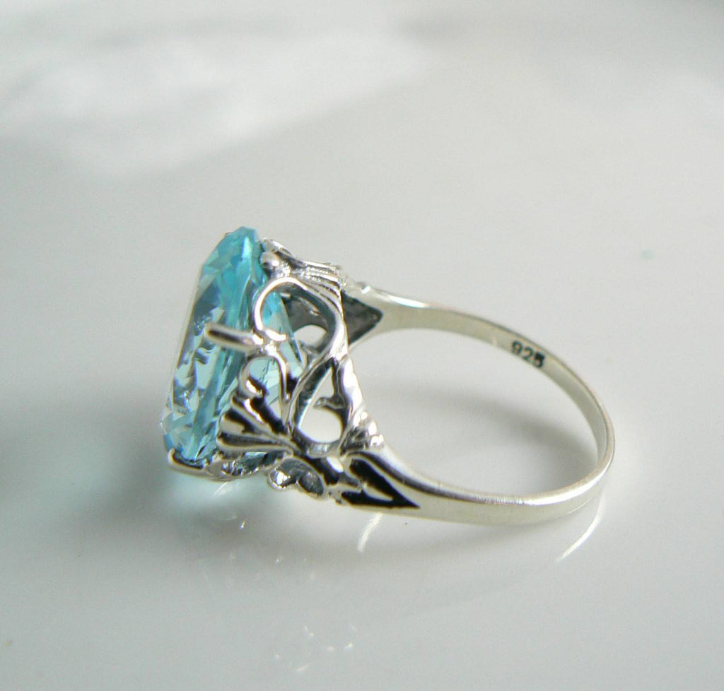8ct Oval Blue Aquamarine Sterling Silver Vintage Revival Filigree Ring - Vintage Lane Jewelry