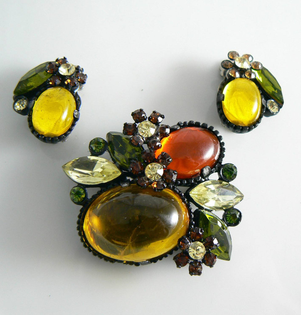 Lovely Glass Prong Set Stones Japanned Demi Parure - Vintage Lane Jewelry