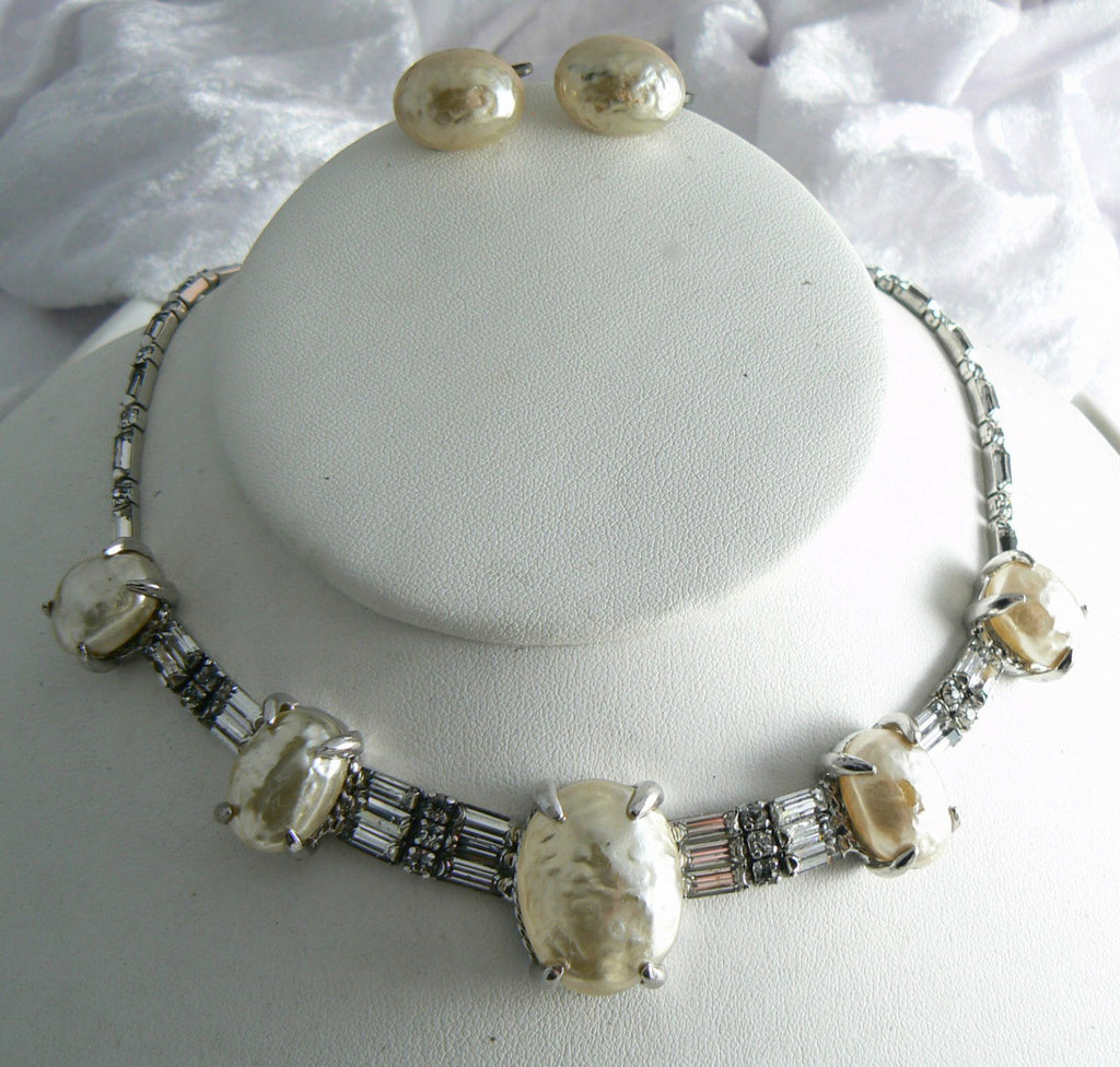 Michael Paul Mobe Pearls And Rhinestone Necklace And Earring Set - Vintage Lane Jewelry