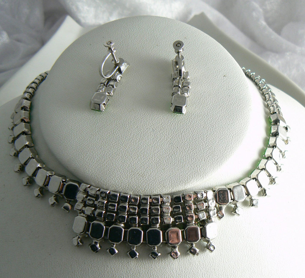 Vintage Peridot Green Rhinestone Necklace And Earring Set - Vintage Lane Jewelry