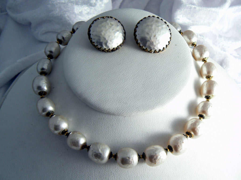 Miriam Haskell Large Baroque Pearl Necklace And Earring Set - Vintage Lane Jewelry