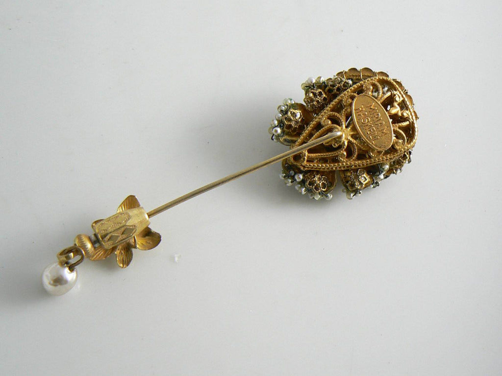 Vintage Miriam Haskell Signed Seed Pearl Gold Tone Stick Pin - Vintage Lane Jewelry
