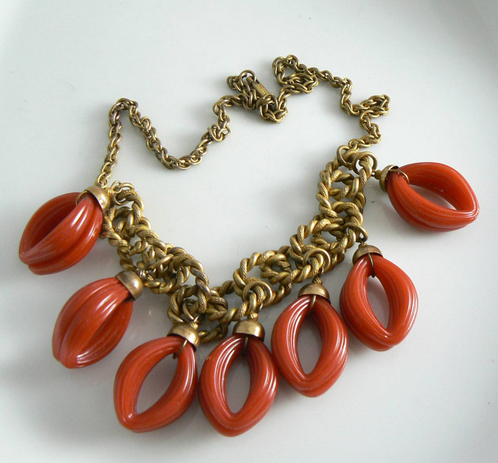 Vintage Signed Miriam Haskell Red Looped Dangle Necklace - Vintage Lane Jewelry