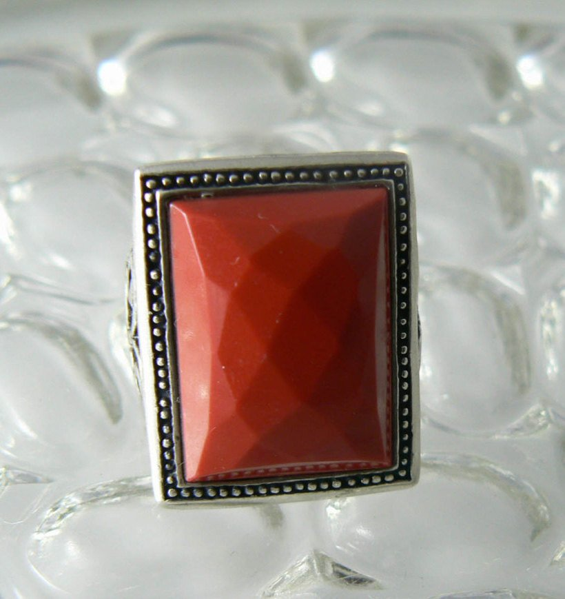 Chunky Sterling Silver Faceted Red Coral Ring - Vintage Lane Jewelry - 1