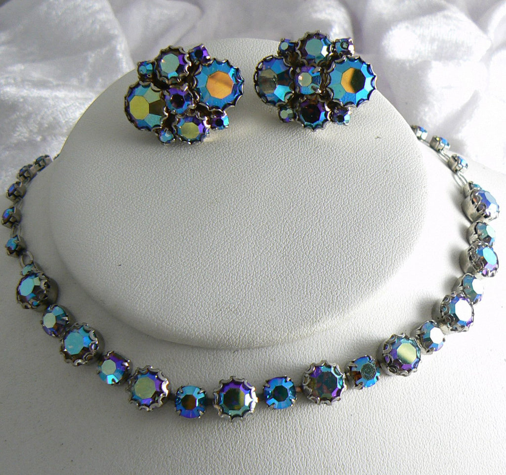 Unsigned Weiss Ab Rhinestone Necklace Earring Set - Vintage Lane Jewelry