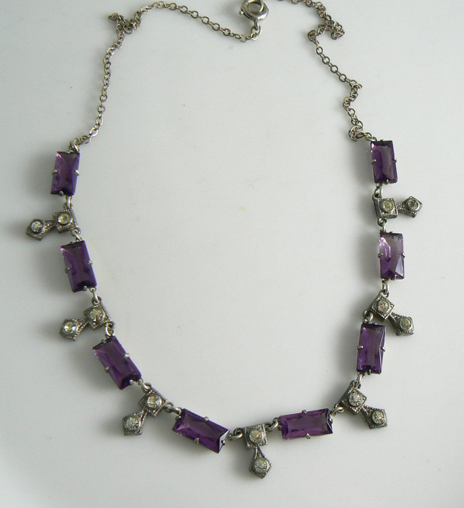 Art Deco Purple Baguette Rhinestone Necklace - Vintage Lane Jewelry
