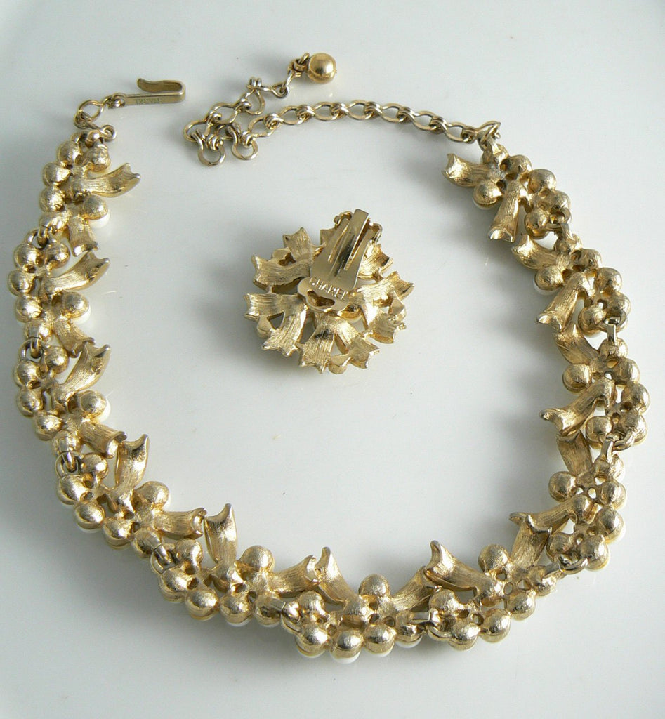 Charel Gold Tone Faux Pearl And Rhinestone Set - Vintage Lane Jewelry