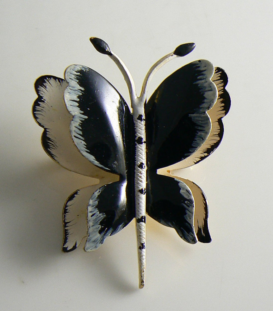 Hattie Carnegie Black & White Enameled Butterfly Vintage Pin - Vintage Lane Jewelry