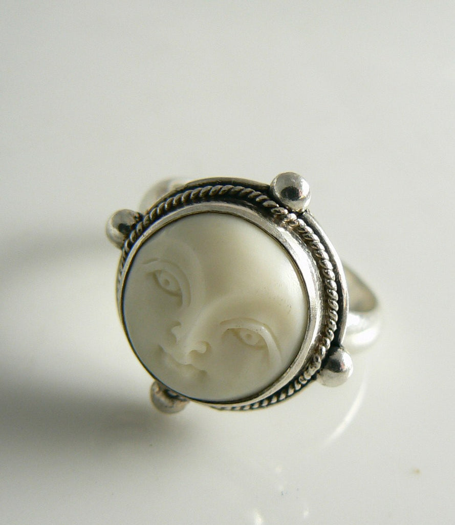 Sterling Silver Bask Carved Face Goddess Ring - Vintage Lane Jewelry