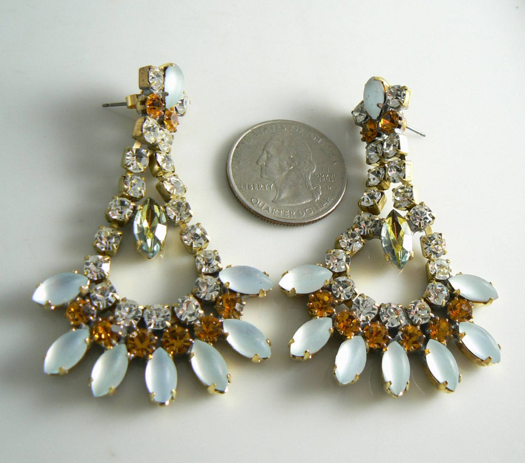 Frosted White And Topaz Czech Glass Earrings - Vintage Lane Jewelry