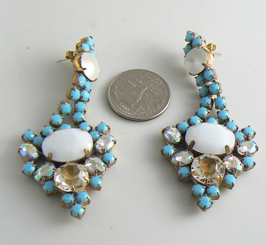Czech Glass Opaque White And Turquoise Glass Stone Earrings - Vintage Lane Jewelry