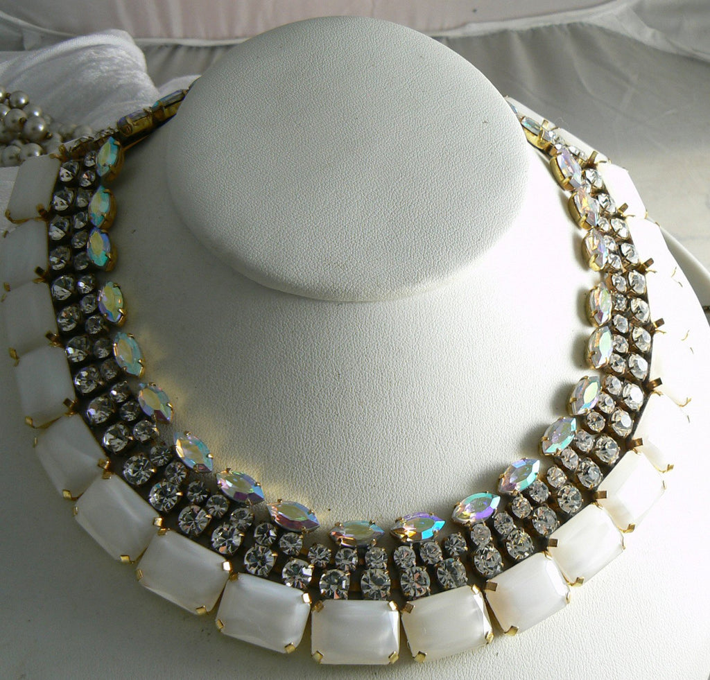 Czech Glass White Opal, Borealis And Rhinestone Necklace - Vintage Lane Jewelry