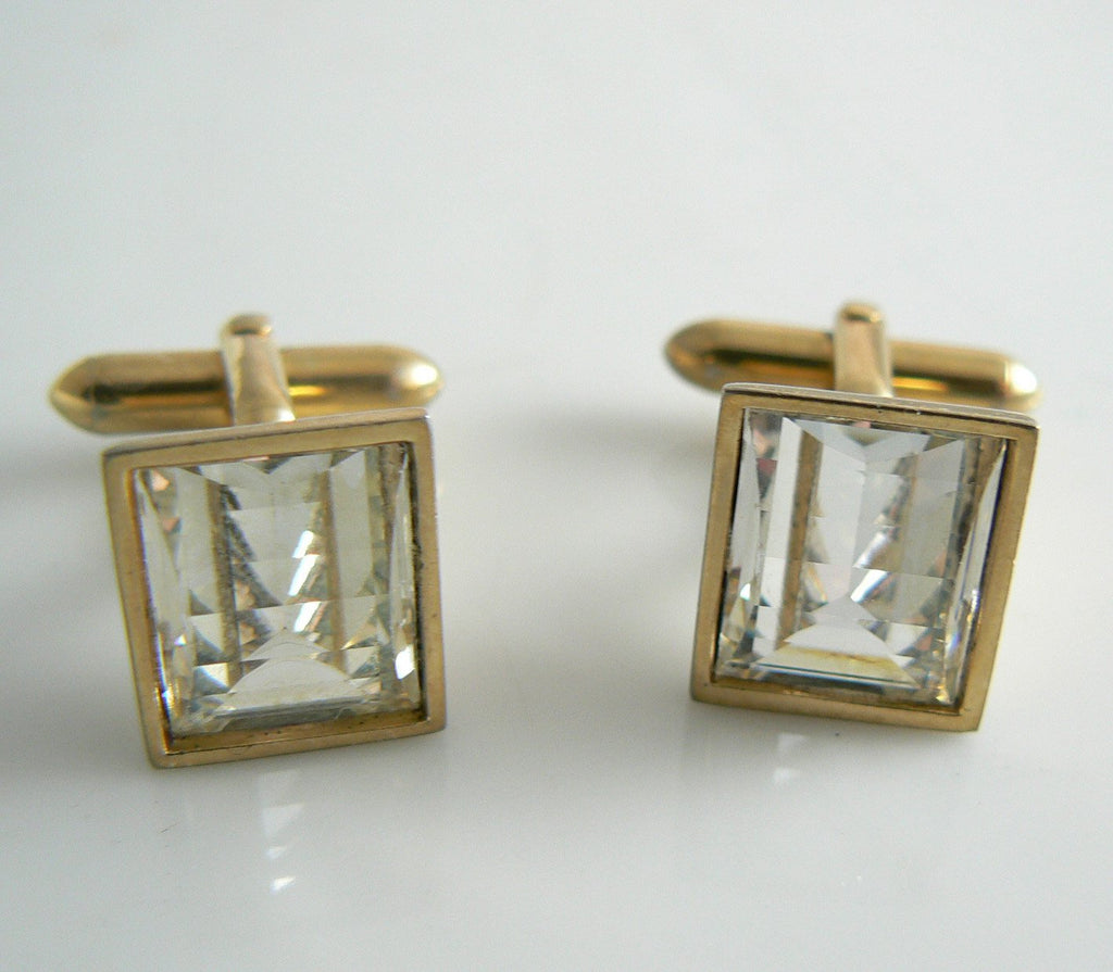 Vintage Step Cut Crystal Cufflinks - Vintage Lane Jewelry