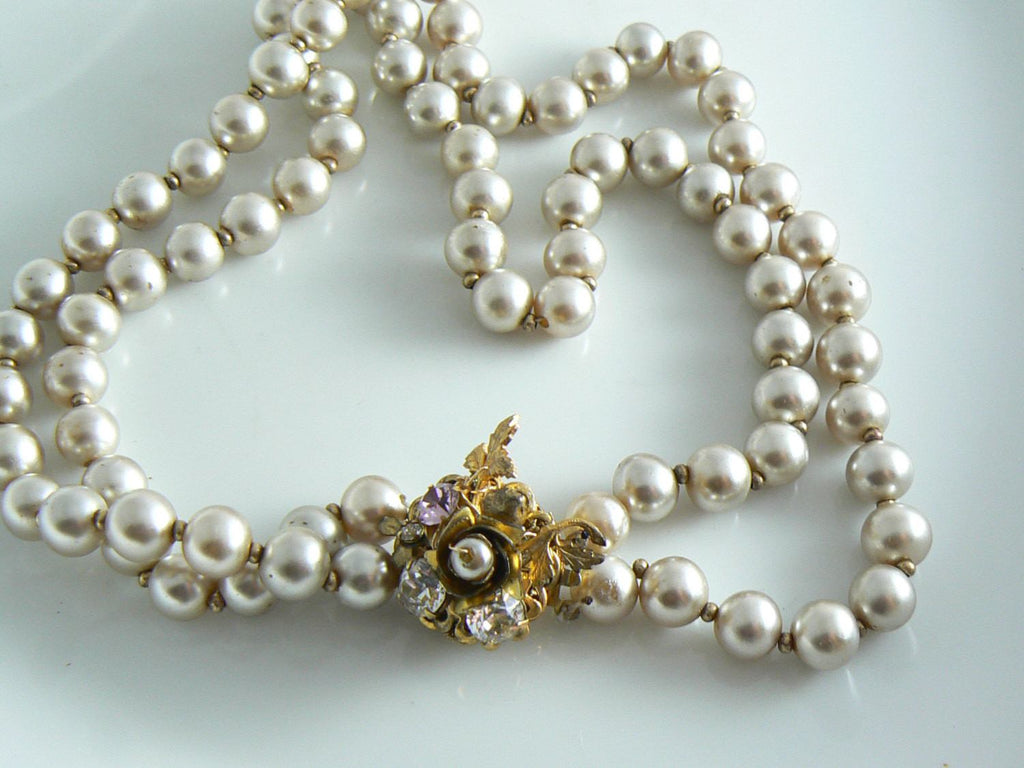 Miriam Haskell Two Strand Glass Pearl Choker Fancy Rhinestone Clasp - Vintage Lane Jewelry