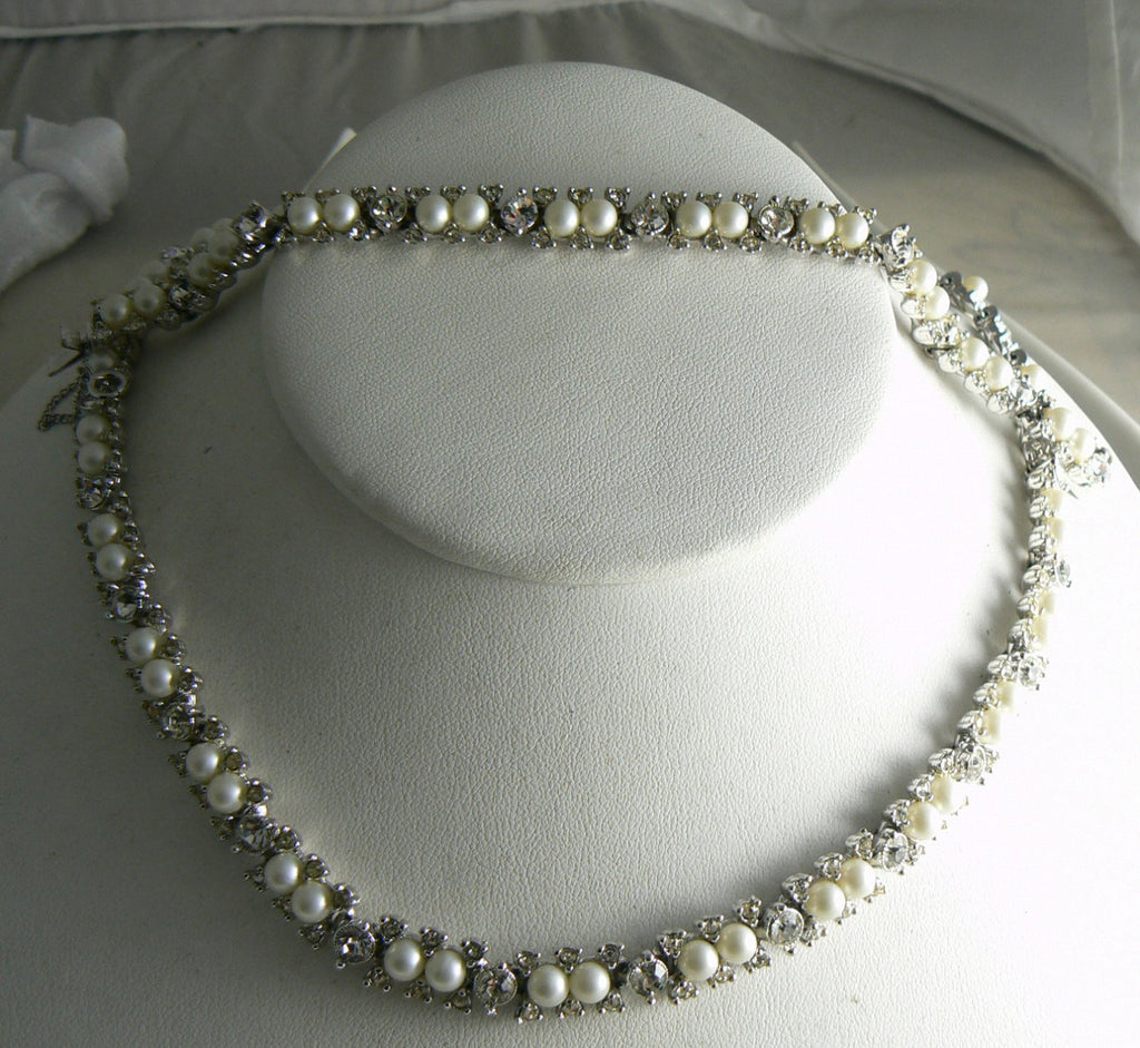 Vintage Bogoff Faux Pearl And Rhinestone Necklace Bracelet Set - Vintage Lane Jewelry