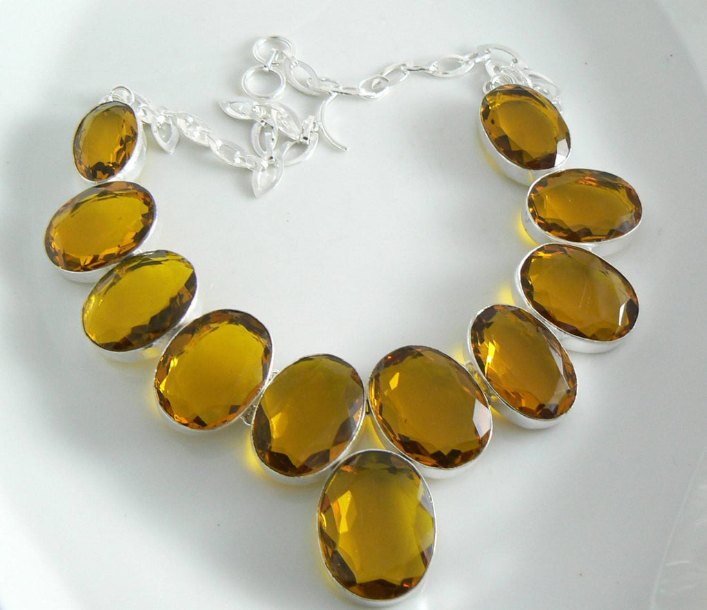 Honey Citrine Silver Necklace - Vintage Lane Jewelry