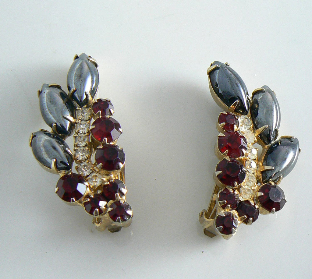 Verified Juliana Ruby And Hematite Rhinestone Leaf Earrings - Vintage Lane Jewelry