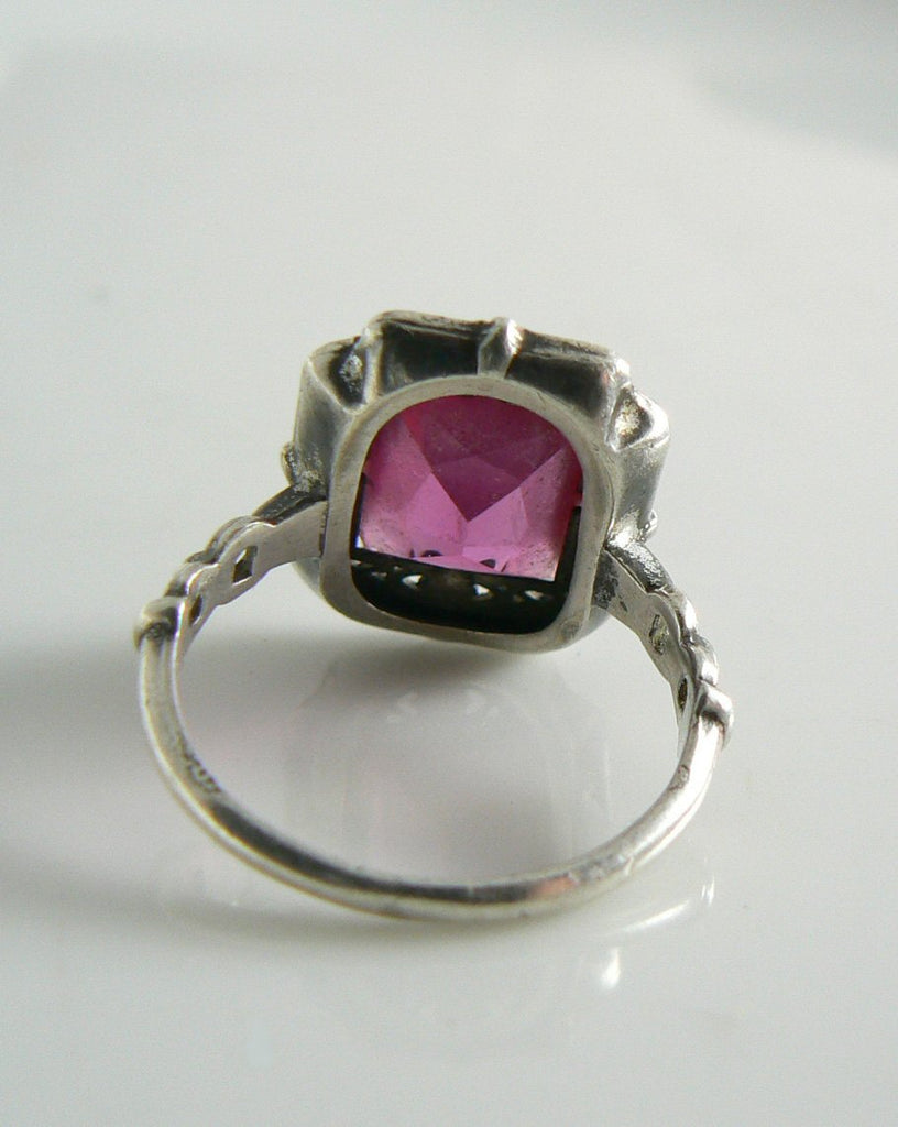 Art Deco Era Sterling Silver Filigree Pink Paste Ring - Vintage Lane Jewelry