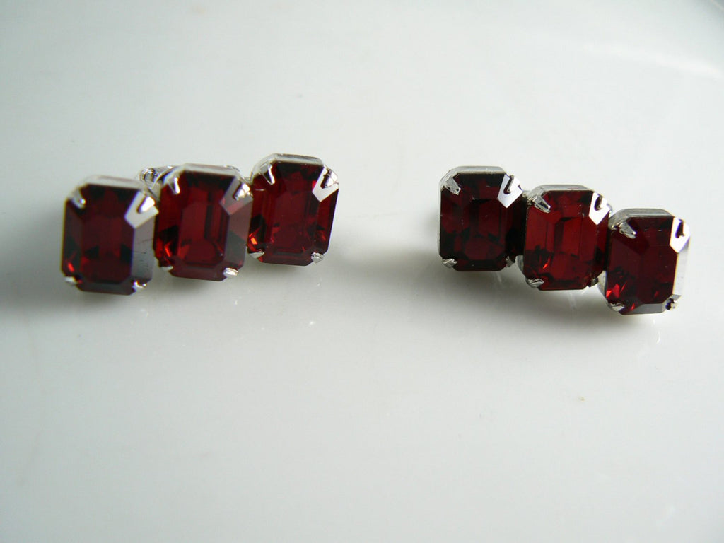 Kramer Ruby Red Clip Earrings - Vintage Lane Jewelry